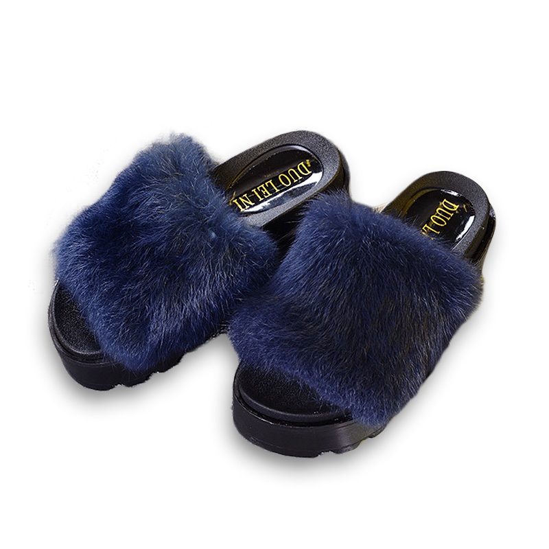 bf873754b New Summer Plush Women Fluffy Slippers Flat Non slip Animal Fur Feather  Slides Home Flip Flop Rabbit Lady Casual Heighten Shoes-in Slippers from Shoes  on ...