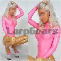 Сексуальные женские розовые латексные Боди ручной работы с носками