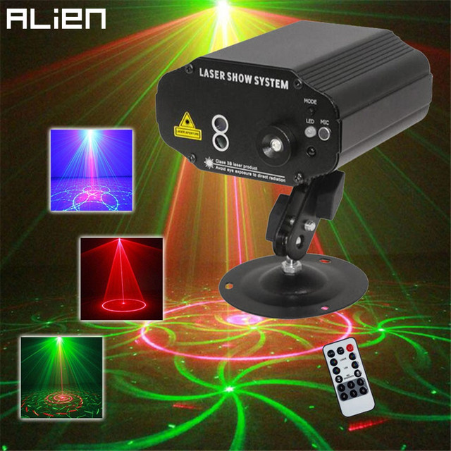 ALIEN Mini 24 Patterns Red Green Laser Projector Stage Lighting Effet System Lumiere DJ Light Led - lumiere lighting