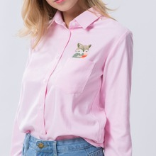 Women's School Blouses with Cat Embroidery