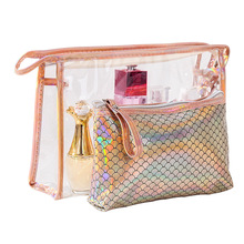 New Fish Scale Laser Set PVC Cosmetic Bag Two Waterproof Travel Washing and Gathering Bags Zip Lock Plastic Bags
