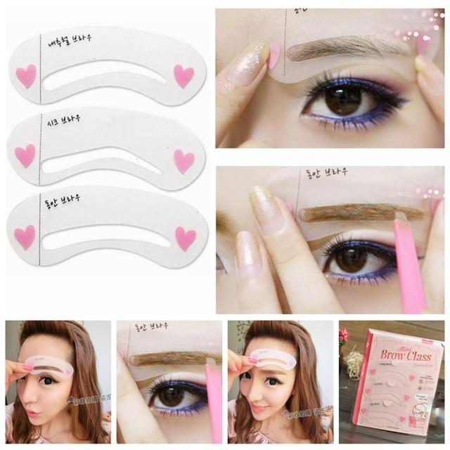 3 Styles Shape Frame Mini Eye Brow Class Drawing Guide Shaping