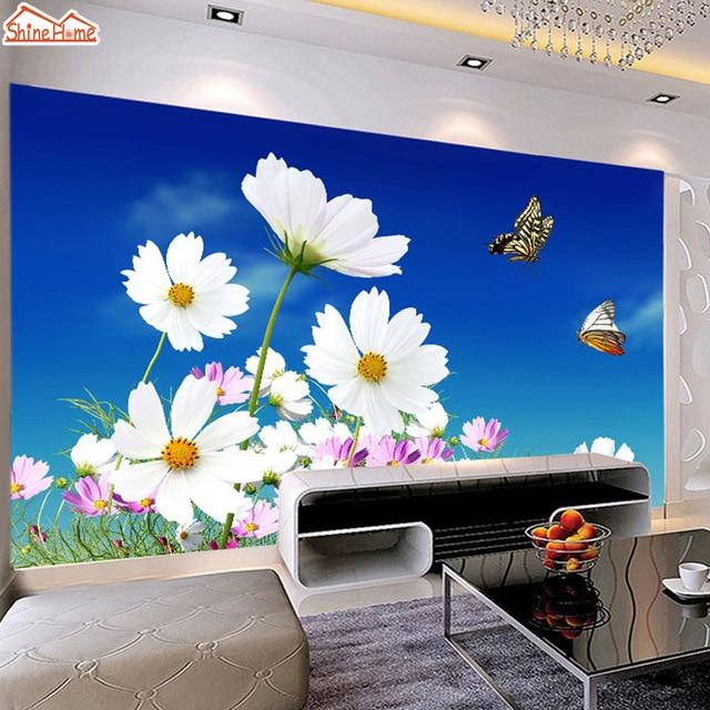 ShineHome Art Butterfly Flying In Blue Sky Flower Wallpaper Bathroom 3d Wall  Mural Rolls Kids