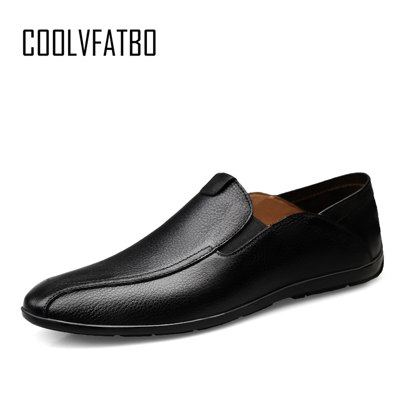 COOLVFATBO Quality Mens Shoes Casual Luxury Brand Winter Warm Men Loafers Genuine Leather Moccasins Breathable Slip