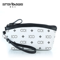 Starbags England Style Print Zipper Pu Leather Wristlet Bags Makeup Handbag Women Coin Purse With Premium