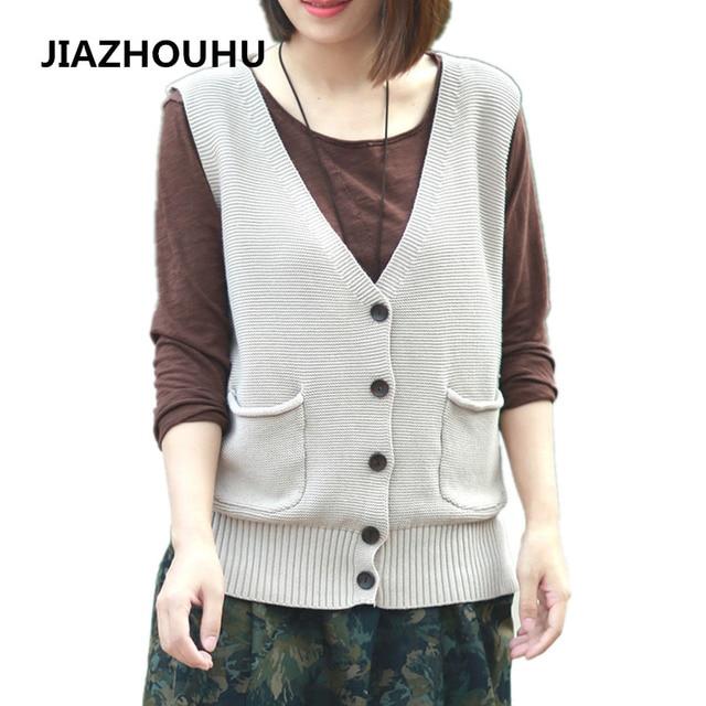 daca266f4e9 2017 Spring Deep V-Neck Knitted Women s Vests Short Sleeveless Coat Sweater  Vest Female Solid Color Waistcoat For Women Cardigan
