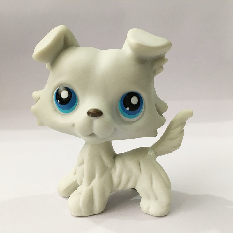 5cm LPS Rare toy Littlest Pet Grey Collie Dog Puppy Blue Eyes Figure Toy Animal lps free delivery new pet genuine original lps 58 brown collie dog puppy blue eyes lps kids toys