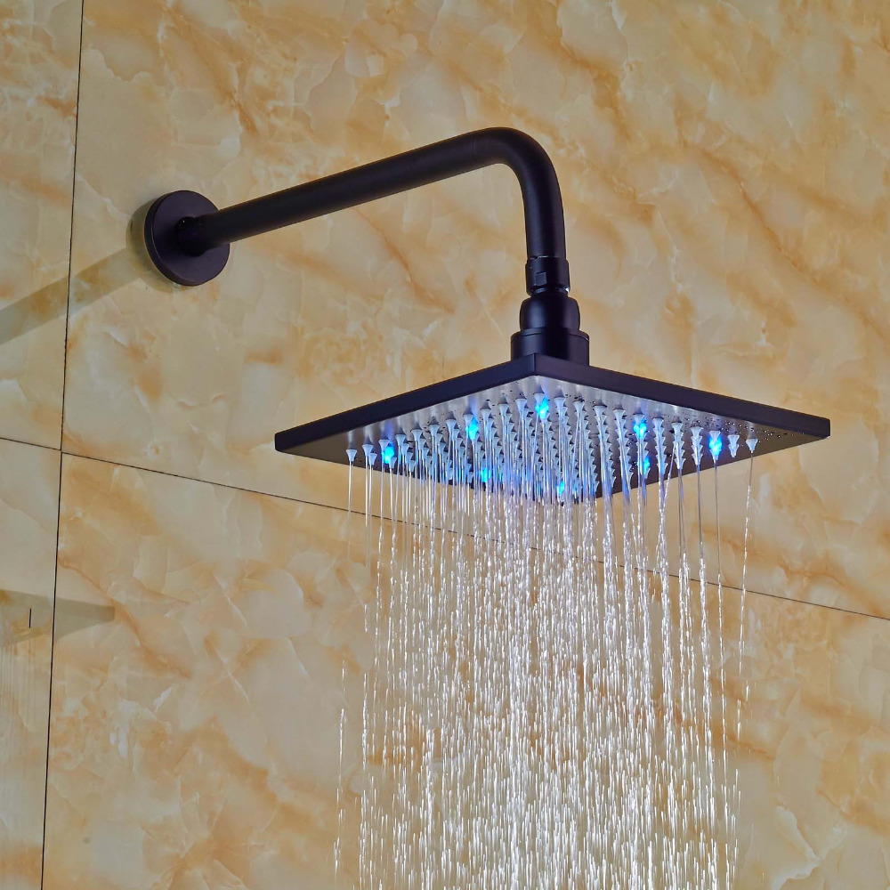 LED Square Rain Shower Head Wall Mounted Shower Arm Oil Rubbed Bronze led light 12 brass rain shower head wall mount shower arm bathroom round shower head oil rubbed bronze