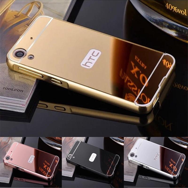 För HTC 626 fodral plätera metallram med spegel bakomslag hårt - Reservdelar och tillbehör för mobiltelefoner