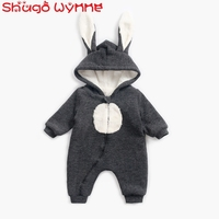 Winter Baby Infant Cartoon Cute Ear Rabbit Hooded Thick Fleece Warm Rompers Newborn Princess Jumpsuits Kids Clothes