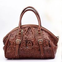 Luxury 100 Genuine Leather Women Bag Handbag Fashion Retro Dumplings Shell Tote Top Cowhide Embossed Ladies