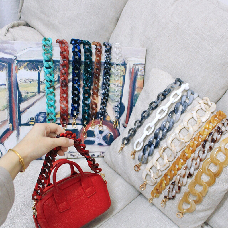 Design Wide Acrylic Resins Chains Bag Belt Women Shoulder Acrylic Accessories Detachable Ladie Shoulder Straps Handbags Purses
