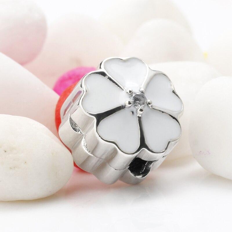 Light pink stone Rose quartz clip-on charm Sterling silver 925 Handmade.
