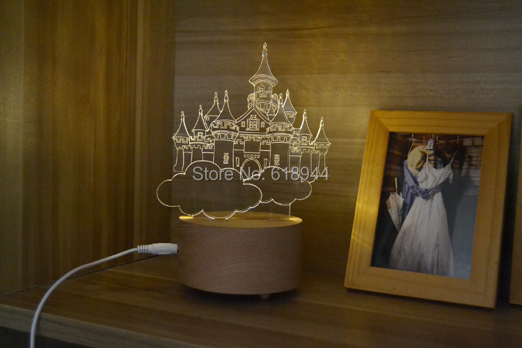 Wooden Modern LED Desk Lamp Creative Fashion Bedroom Bedside Night Light Birthday Gift Castle in the Sky voice control rainbow bedside desk led night light