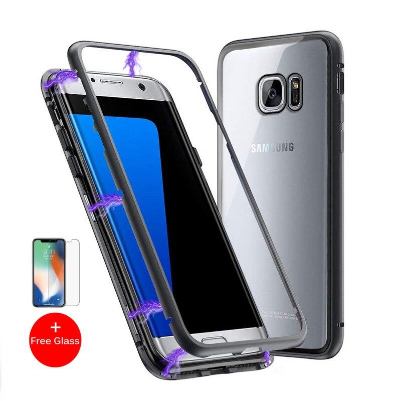 Adsorción magnética Flip teléfono caso para Samsung Galaxy S8 S9 más Nota 8 9 S7 borde imán Metal templado cubierta trasera de cristal