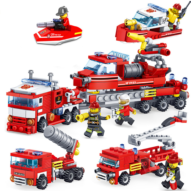 Fire Fighting Mini Trucks Car Helicopter Boat Building Blocks Compatible Legoingly City Firefighter Figures Children Toys Gift