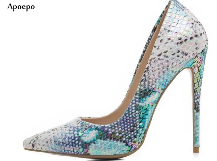 New 2018 Newest Snake Printed Leather Pumps Sexy Pointed Toe High Heel Shoes Shallow Mouthe 12 CM thin heels shoes мода ювелирные изделия медь мужчины и женщины любовь браслеты браслеты гвозди манжеты браслеты ювелирные изделия