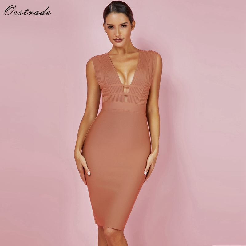 Detail Feedback Questions about Ocstrade New Arrival Bandage Dress 2018  Sexy Camel Plunge Deep v Neck Bodycon Dress Cut Out Bandage Dress Rayon  High Quality ... ad0707b38
