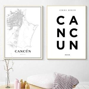 Meksyk Cancun ulicy miasta mapa plakat drukuje podróż wakacje Cancun współrzędne obraz na płótnie zdjęcia dekoracje ścienne do domu