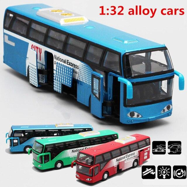 1:32 Модели автомобилей из сплава, высокий симулятор городского автобуса, металлические Литые, игрушечные транспортные средства, тяговый, мигающий и музыкальный, бесплатная доставка