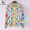 2017 High Quality Blouses Women's Turn Down Collar Long Sleeve Fashion Tops Multicolor Porcelain Floral Printed Shirt