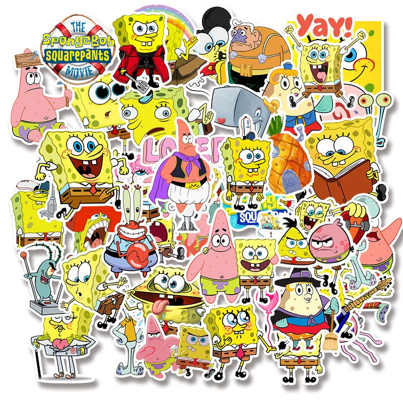 Image 3 - 50pcs/pack Cartoon SpongeBob SquarePants Sticker Waterproof For Mobile Phone Car Moto Laptop Luggage Bicycle Skateboard Decal-in Stickers from Toys & Hobbies