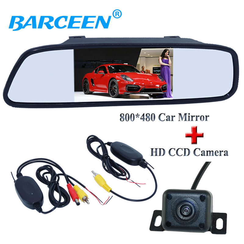 "HD CCD night vision car rear back up camera with 4.3"" car screen mirror monitor and wireless car receiver and transmitting"