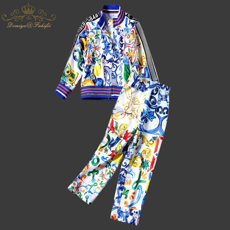 Domiya&Fakifii Mother And Daughter Sets Girls Clothing Sets 2018 Autumn Sportswear Long Sleeve Majolica Pattern Design for Kids domiya