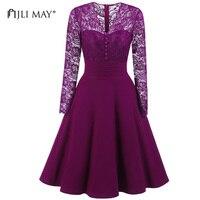 JLI MAY Autumn Lace Dress Women Long Sleeve V Neck A Line Black Sexy Vintage Elegant