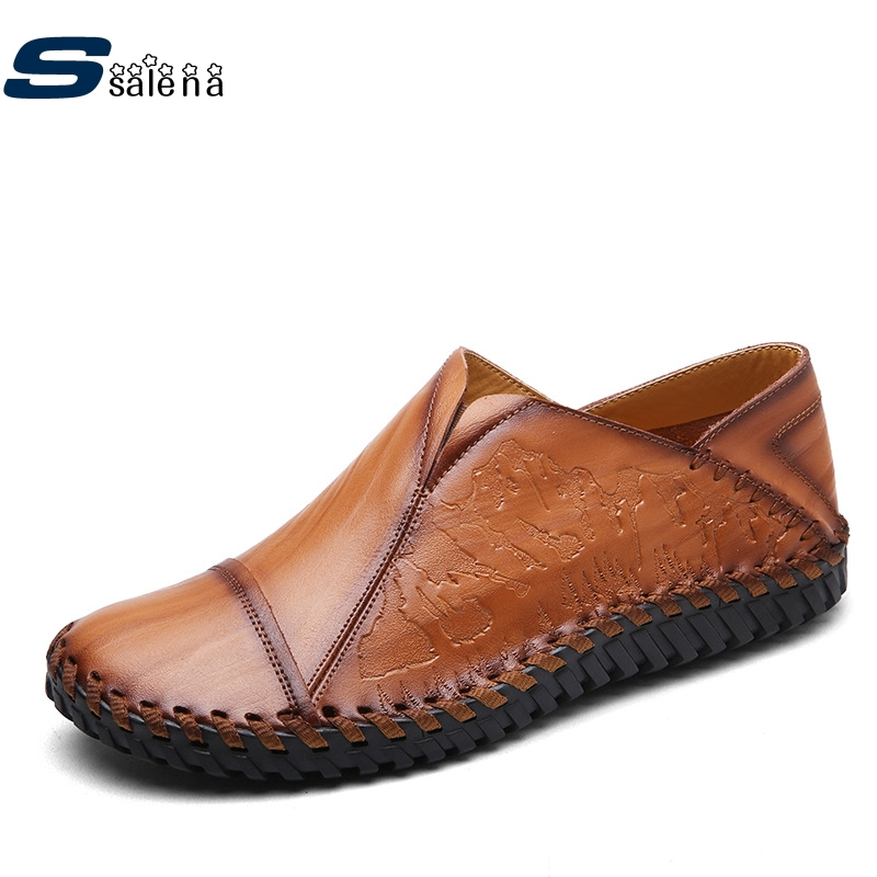 купить New Mens Casual Shoes Fashion Men Leather Flats Handmade Breathable Outdoor Driving Shoes Hot Sale B2860 онлайн