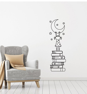 Girl Books Moon Stars Vinyl Decal Wall Sticker for Kids Nursery Love Reading Wall Decal Bedroom Home Decor Cute Stickers Z977(China)