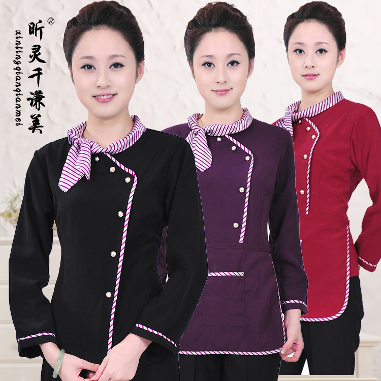 Autumn Winter Clothing Female Hotel Catering Waiter Restaurant Hot Pot Long Sleeved Uniforms Waitress Work Clothes J096