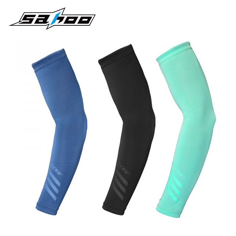 SAHOO #451446 Sun Protection Arm Sleeves UV Resistance Cool Lycra Cover Cycling Sleevelet Unisex Covers Manguito Armwarmer sahoo 45516 outdoor cycling sunproof polyester sleeves covers black white pair xxl