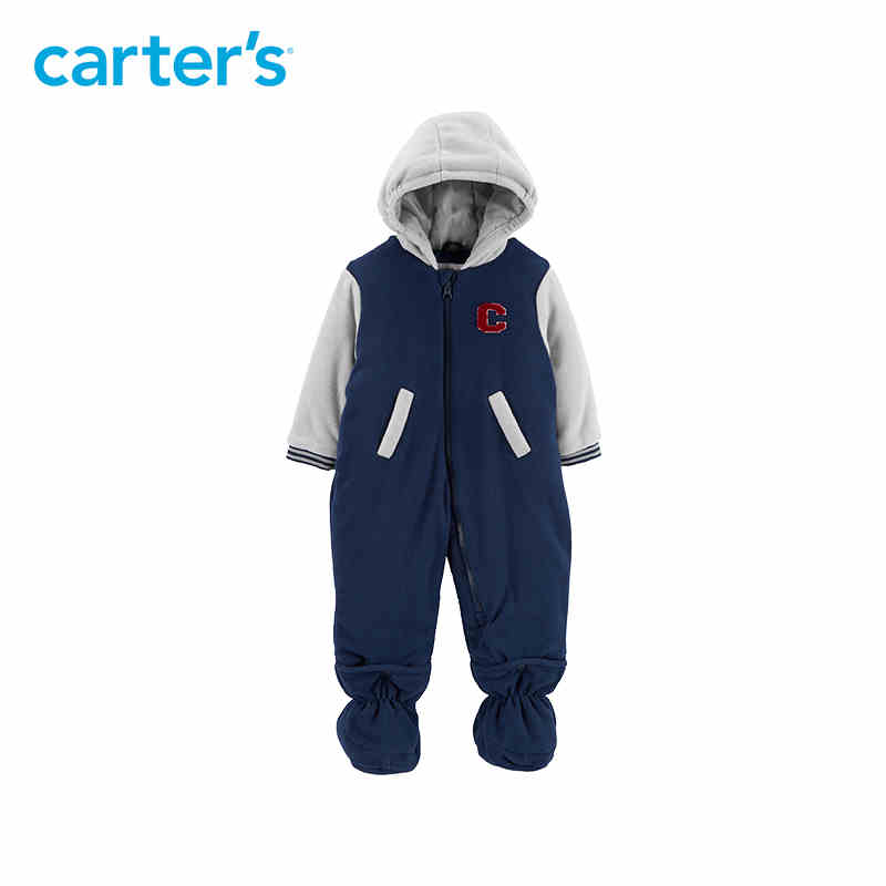 Carters autumn winter overalls baby boy fashion letter hooded pocket zip up footies jumpsuit newborn baby clothes CL218K55
