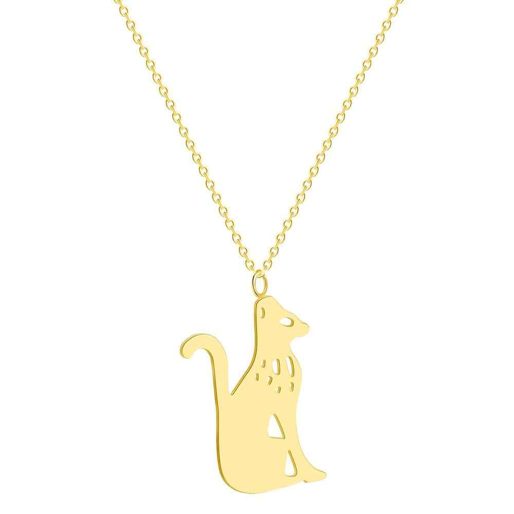 Chandler Cat Kitty Pendnat Necklace Stainless Steel Gold Color Silver Color Cute Animal Pet Dainty Fashion Birthday Gifts