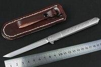 KESIWO mini folding knife D2 blade titanium handle pocket survival tactical knives flipper with Leather case portable EDC knife