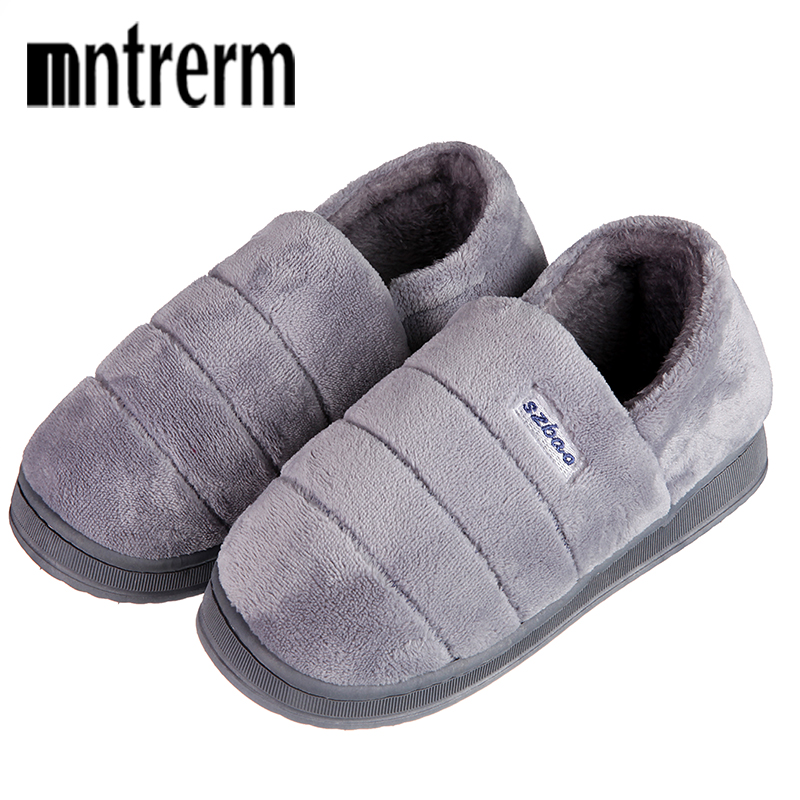 Mntrerm 2018 New Arrival Winter Shoes Men Home Slippers Comfortable Indoor Shoes Warm Contton Slipper Plush Soft Plus Size Shoes new arrival star same paragraph woman slippers summer plus size comfortable attractive sapatos hot sales soft tenis feminino