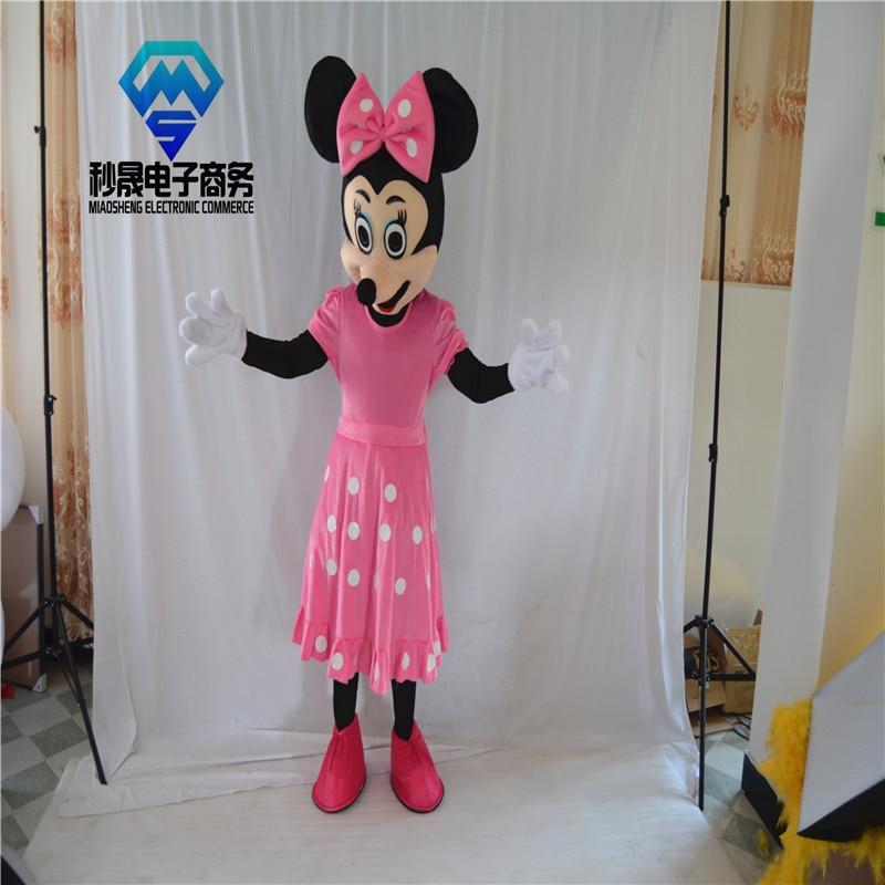 2017 souris fille robe rose rose dessin animé mascotte vente directe d'usine