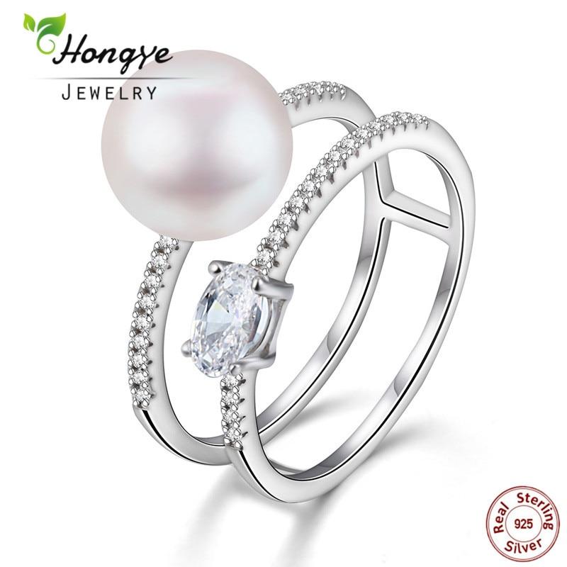 Hongye New Design 100% բնական Pearl Rings 925 - Նուրբ զարդեր - Լուսանկար 1