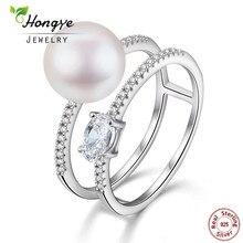 Hongye New Design 100% Naturliga Pärlringar 925 Sterling-Silver-Smycken, Bridal Sets Färskvattenspärl Ring, Gåva Gratis frakt