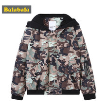 Balabala Boys Camo Printed Hooded Jacket with Pocket Teenage Boy Full-Zip Outdoor Jacket with Contrasted Hood with Tab at Sleeve(China)