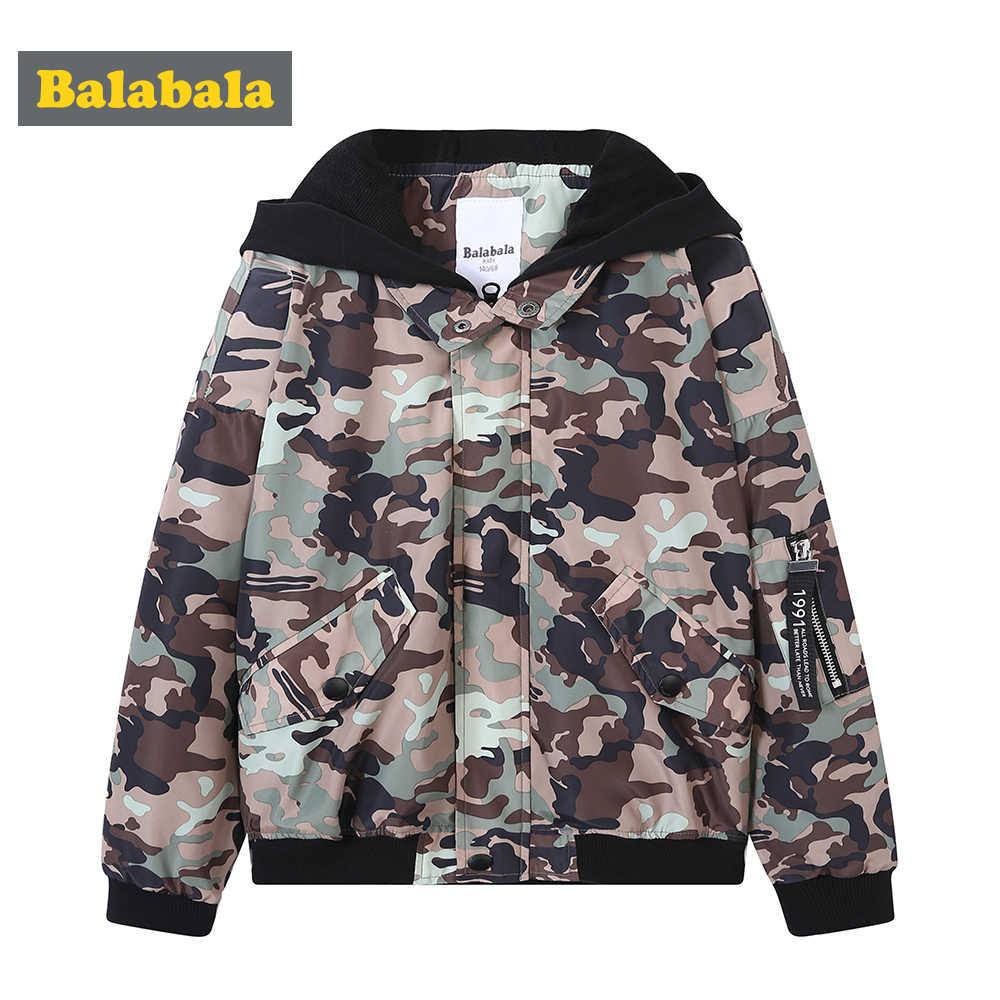 Balabala/куртка с капюшоном с камуфляжным принтом и карманом для мальчиков-подростков; куртка на молнии с контрастным капюшоном с вкладкой на рукаве