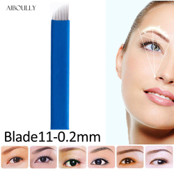 100 pcs Lamina Tebori Microblading 11 Pins Permanent Makeup Eyebrow Blade 11 Flex Bevel Needles For Embroidery Manual Tattoo Pen