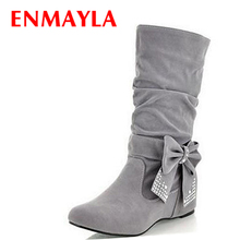 ENMAYER new Snow Boots Holiday Sale Fashion Boots, Bow Decoration OL Style, and Beautiful women Winter Ankle