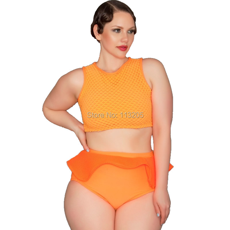 2017 neon orange women bikini set plus size xl xxl xxxl 4xl female swimsuit structured ruffle. Black Bedroom Furniture Sets. Home Design Ideas
