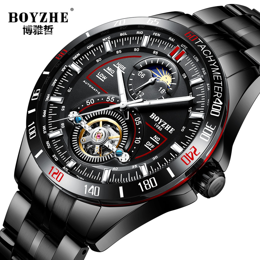 BOYZHE Mens Automatic Mechanical Watches Sports Fashion Top Brand Tourbillon Stainless Steel Moon Phase Watch Relogio