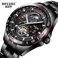 BOYZHE Mens Automatische Mechanische Uhren Sport Mode Top Marke Tourbillon Edelstahl Mond Phase Uhr Relogio Masculino