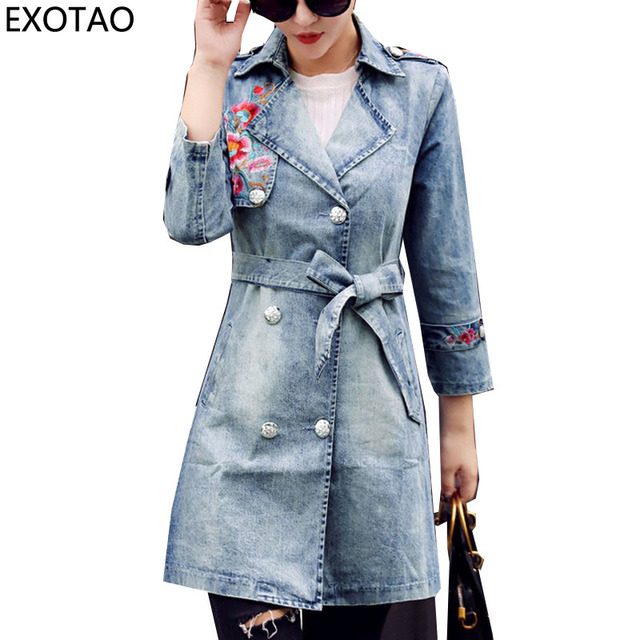 c8df4bf7ab958 EXOTAO Embroidery Long Coats for Women Bandage Slim Waist Denim Jackets  Female Design Turn-down Collar Jeans Casacos 2017 Coat