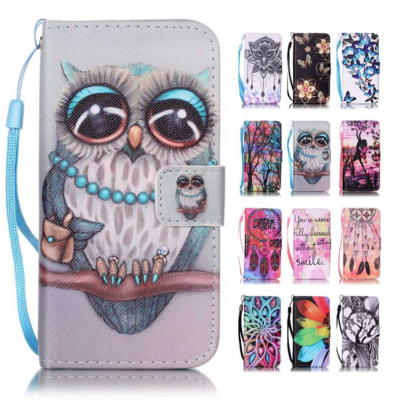 Flip Case Stand Cover For iPhone 5 5S SE 6 7 PLUS /iPod Touch 5/6 PU Leather Wallet Pouch Cartoon Owl Butterfly Flowers Feather