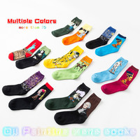 5Pairs/Pack Multiple Colors Cotton Retro Oil Painting Mens Knit Socks New Hight Quality Oil Paintings Series Adult Happy Socks